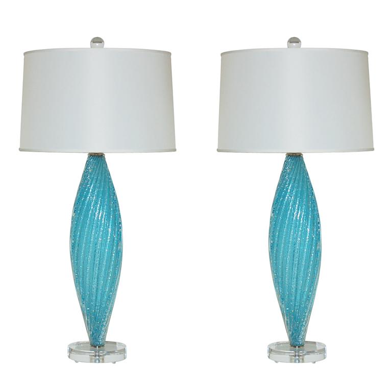 Blue Pulegoso Vintage Murano Lamps