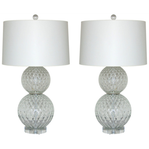 Pair of Vintage Murano Stacked Ball Lamps in Crystal