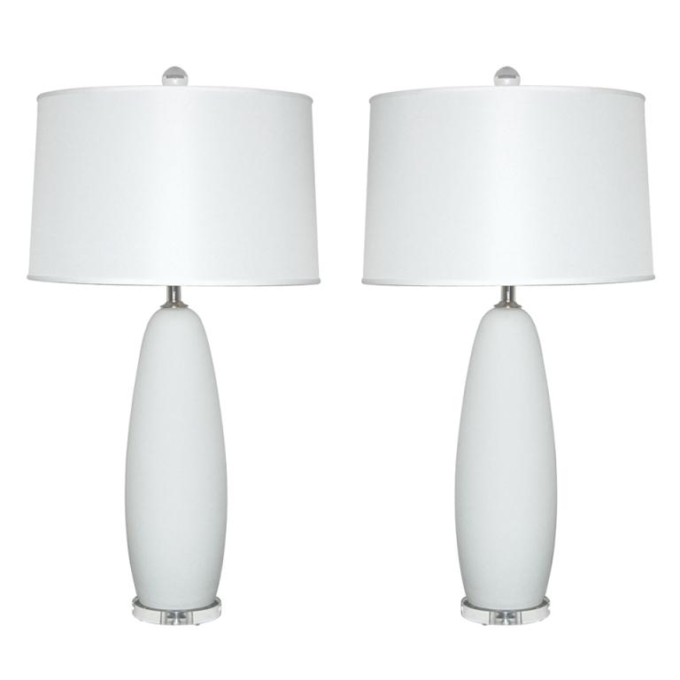 Satin Glass Vintage Murano Lamps