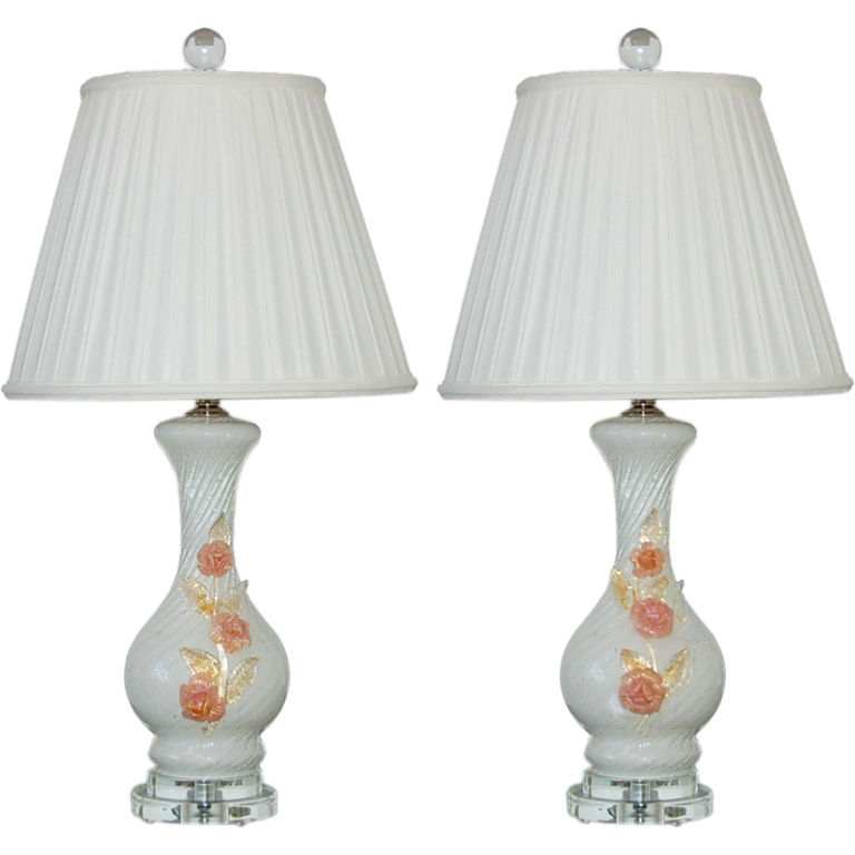 Birthday Cake Murano Lamps with Applied Glass Roses