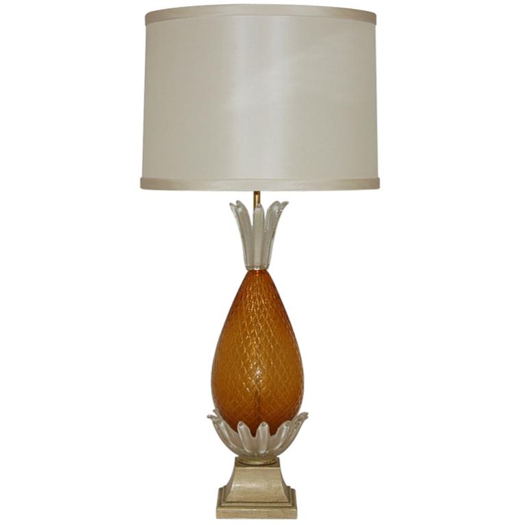 Butterscotch Opaline Pineapple Vintage Murano Lamp