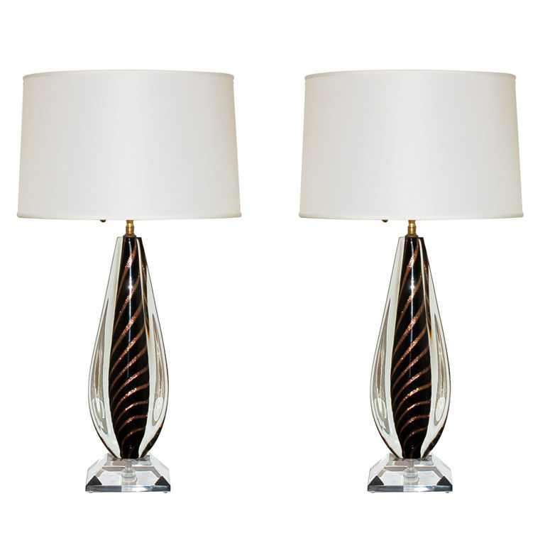 Sommerso Glass Lamps - a Rare Pair of Vintage Murano Glass