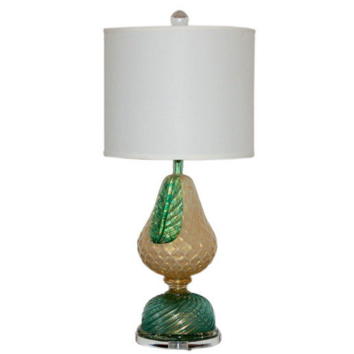 Murano Pear Design Lamp with 24kt Gold