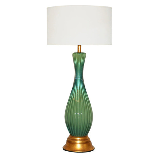 The Marbro Lamp Company - Large, Green, and Single Murano Lamp