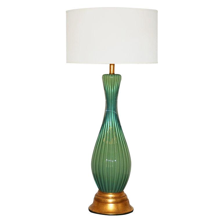 The Marbro Lamp Company - Large, Green, and Single Murano Lamp