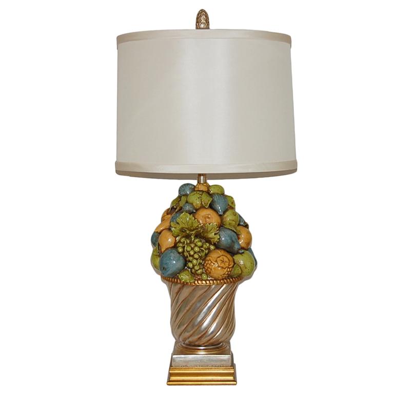 The Marbro Lamp Company - Beautiful Italian Ceramic Fruit Bowl Lamp