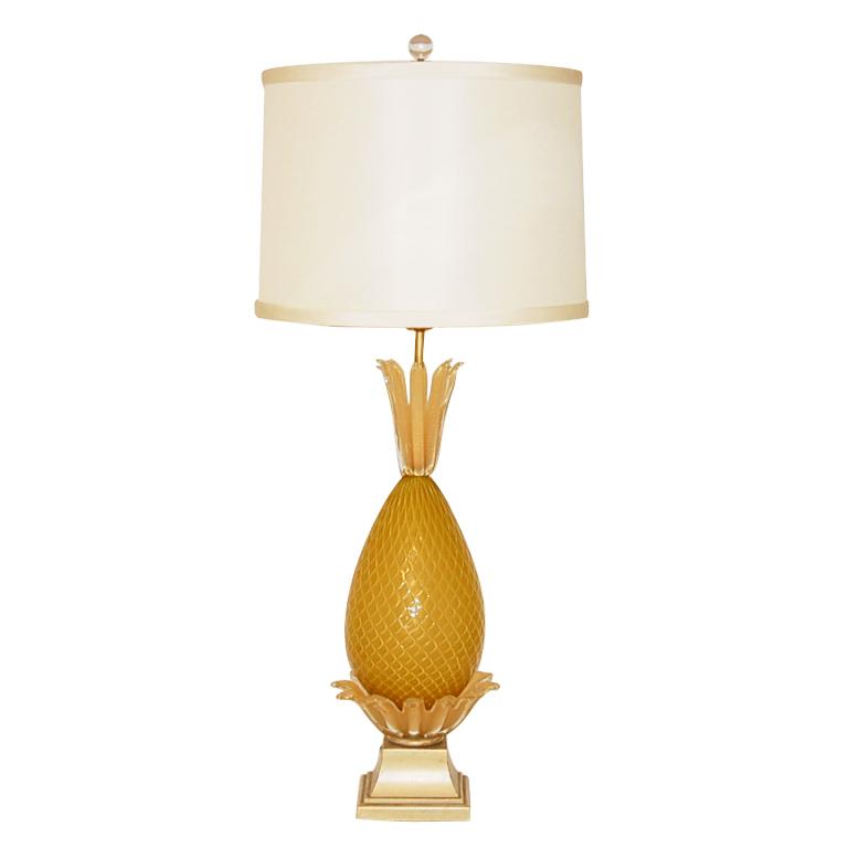 Golden Opaline Pineapple Vintage Murano Lamp