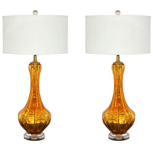 Petticoat Lamps of Rich Butterscotch Murano Glass