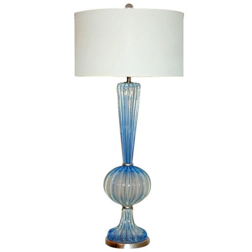 Archimedes Seguso - Soft Cerulean Blue Opaline Murano Lamp