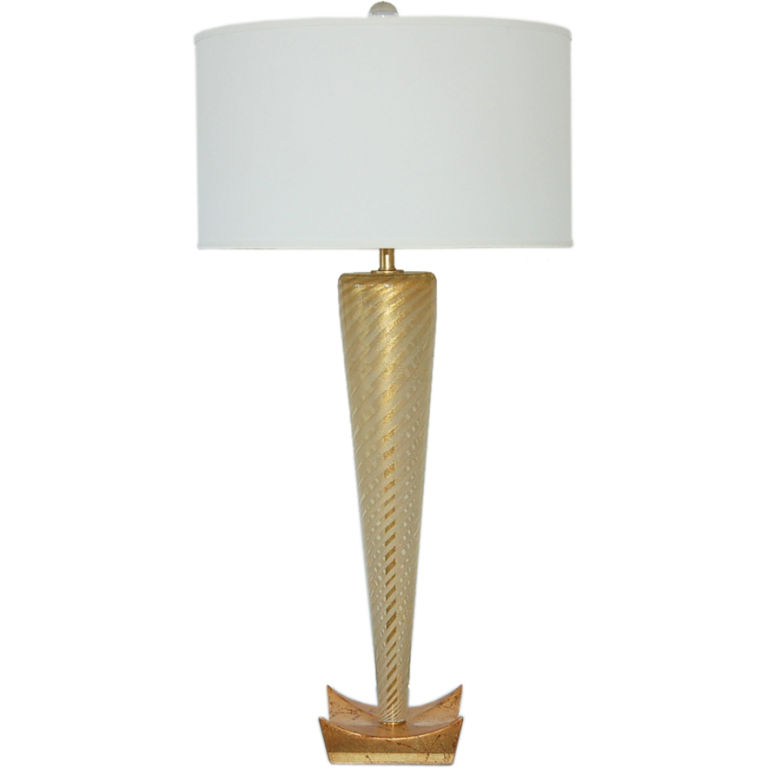 Sommerso Golden Murano Lamp on Gold Leaf