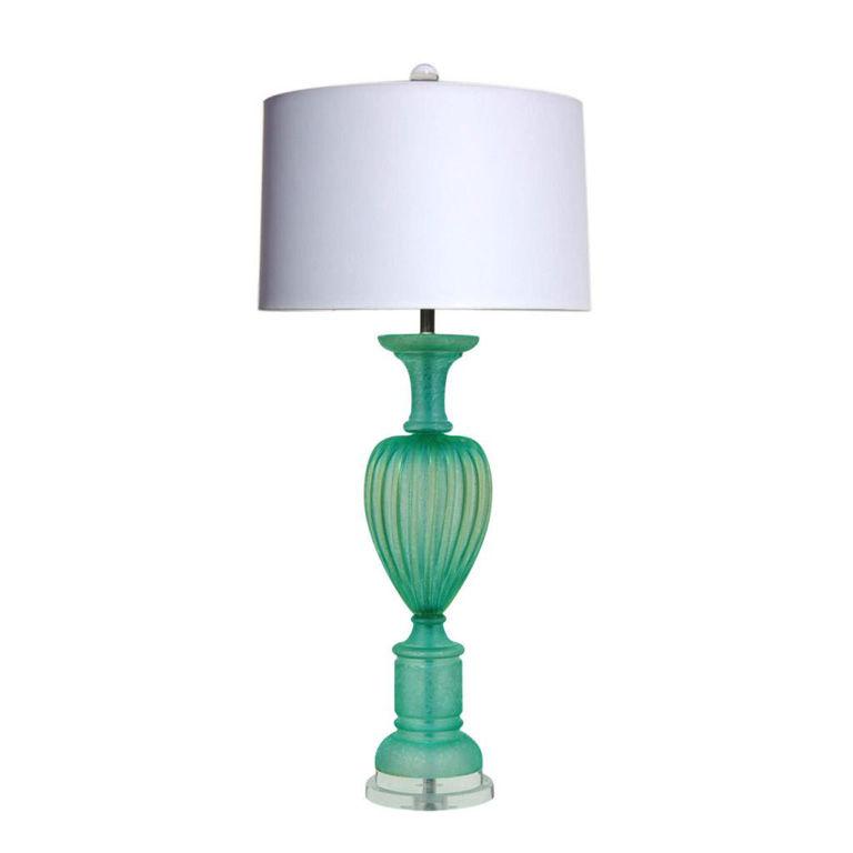 The Marbro Lamp Company - Aqua Green Murano Lamp with Acidato Finish