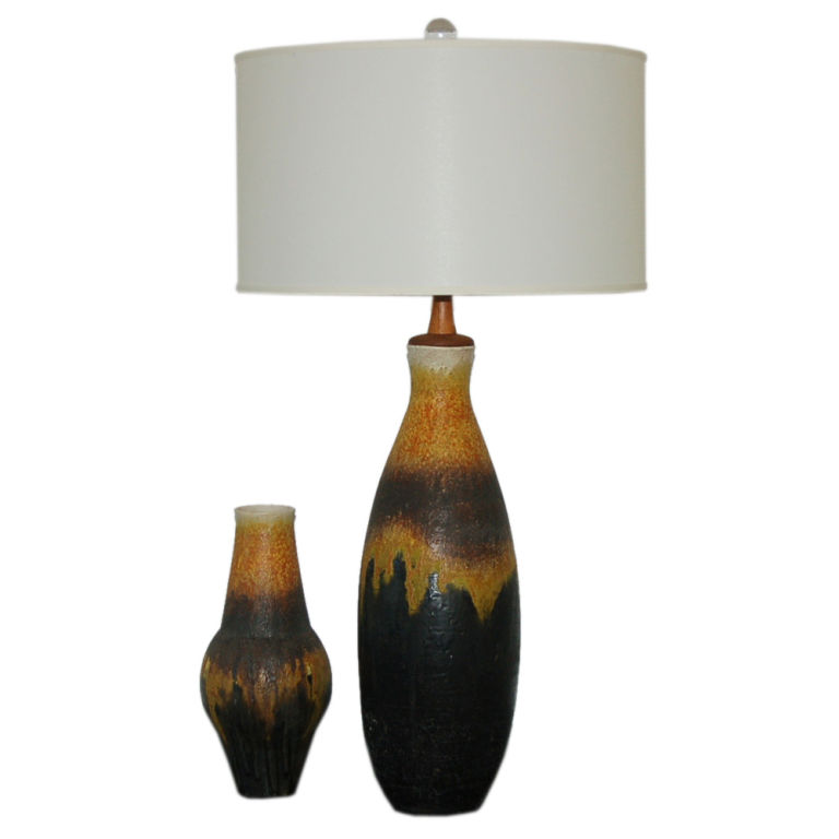 Marcello Fantoni - Signed Vintage Lamp and Matching Vase 1950s