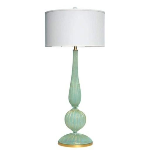 Huge Murano Lamp in Luscious Aqua and Gold