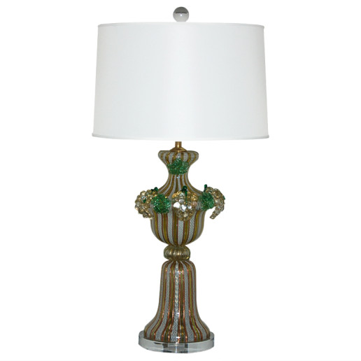 Dino Martens - Chartreuse Filigrana Murano Lamp with Applied Fruit