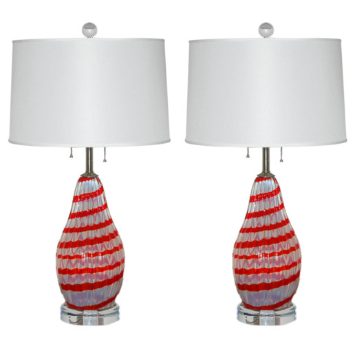 Cherry Red Striped Opaline Murano Lamps