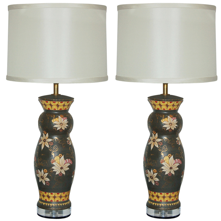 Deruta Hand Painted Italian Ceramic Table Lamps