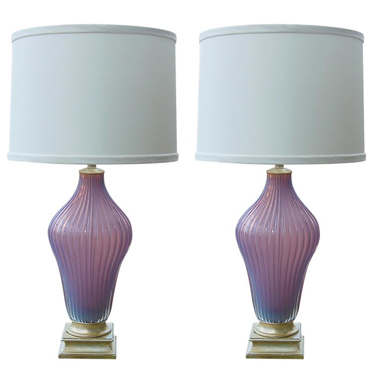 Marbro Lamp Company - Murano Lamps of Lilac Opaline
