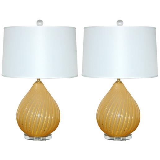 Buttercotch Pulegoso Murano Gourd Lamps