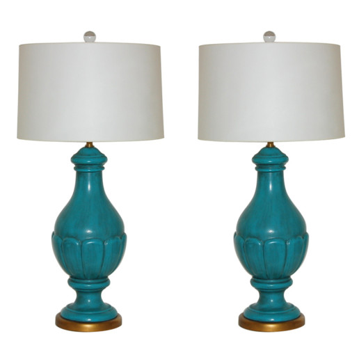 The Marbro Lamp Company - Pair of Italian Ceramic Lamps in Peacock Blue