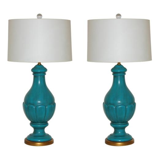 The Marbro Lamp Company - Pair of Italian Ceramic Lamps in Peacock Blue