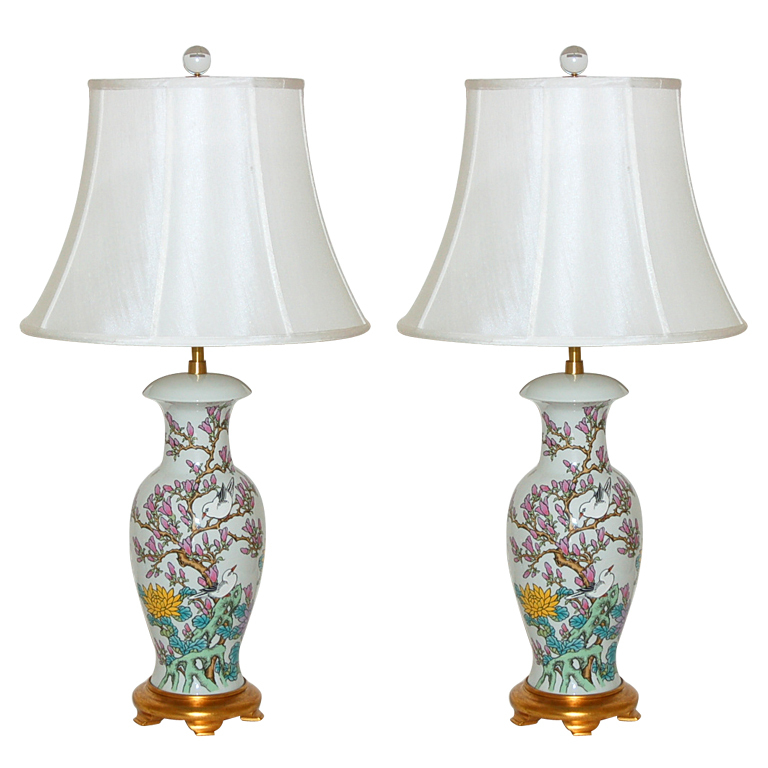 The Marbro Lamp Company Pair Of Hand Painted Porcelain Lamps