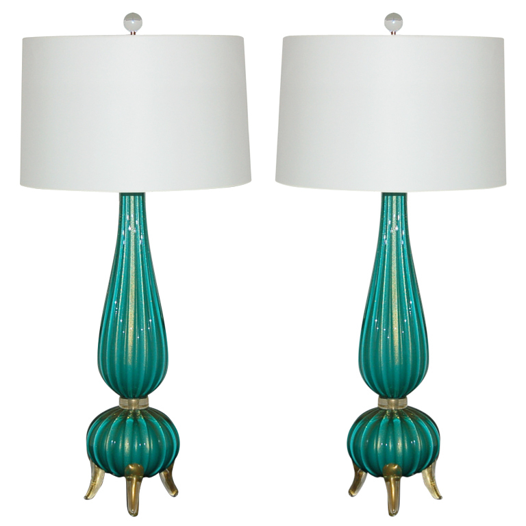 Classic Three Footed Vintage Murano Lamps in Aqua and Gold
