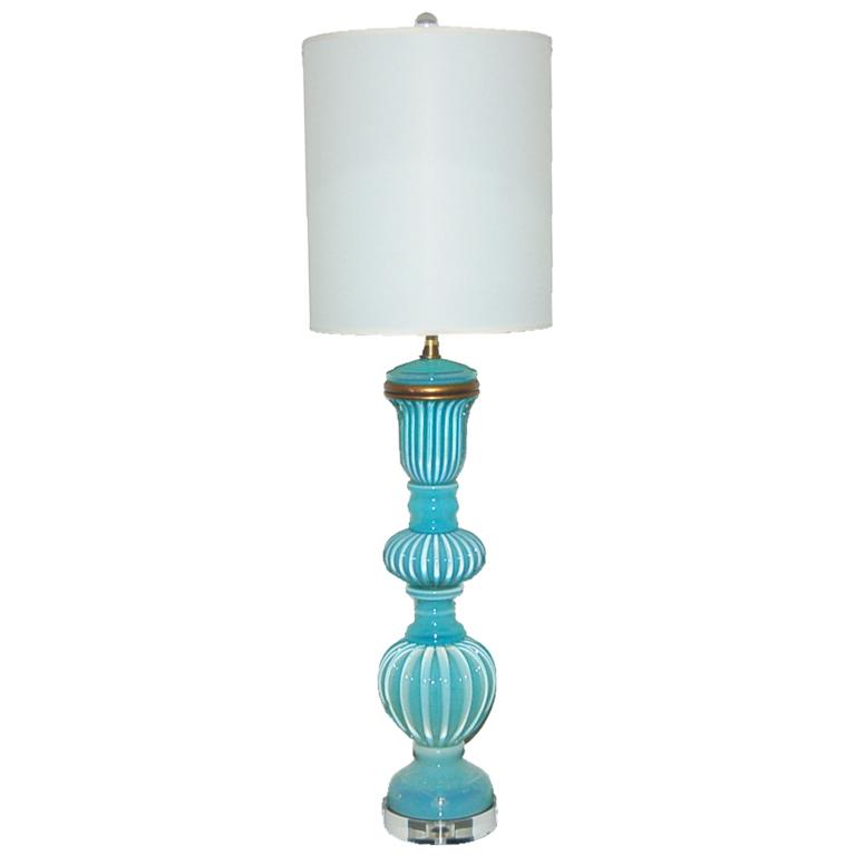 The Marbro Lamp Company - Vintage Opaline Murano Lamp in Aqua
