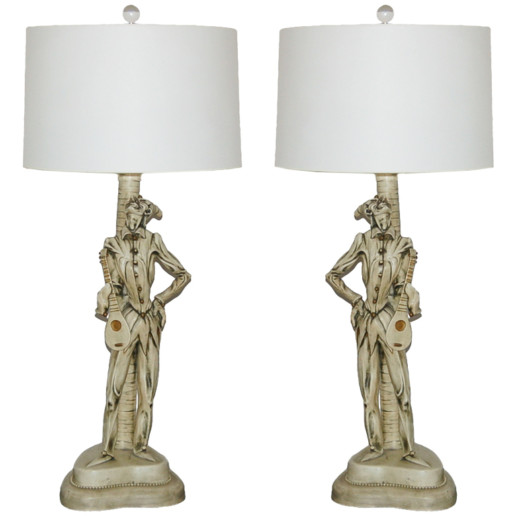 Italian Ceramic Harlequin Lamps c 1950's