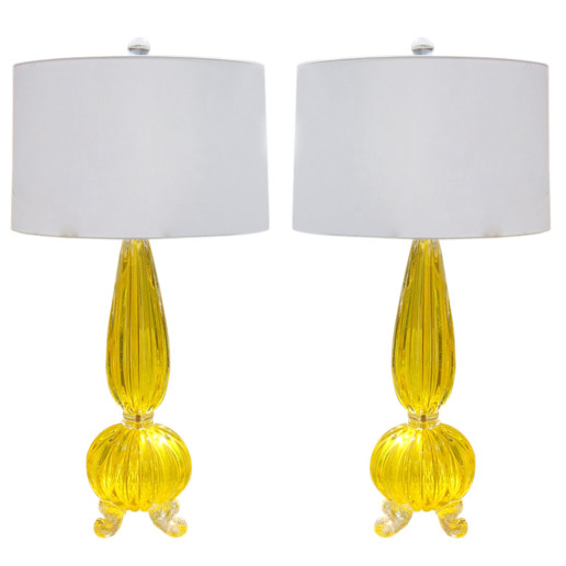 Pair of Vintage Goldenrod Opaline Footed Murano Lamps