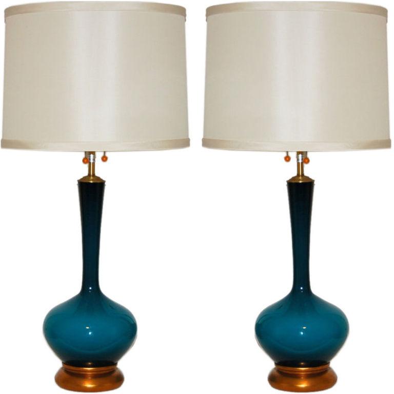 Marbro Lamp Company - Swedish Glass of Peacock Blue