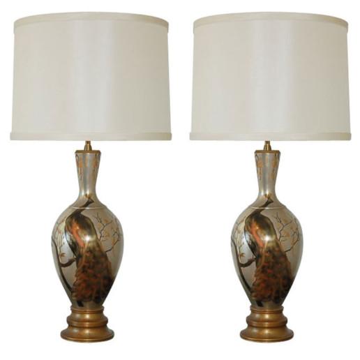 The Marbro Lamp Company - Japanese Mixed Metal Peacock Lamps