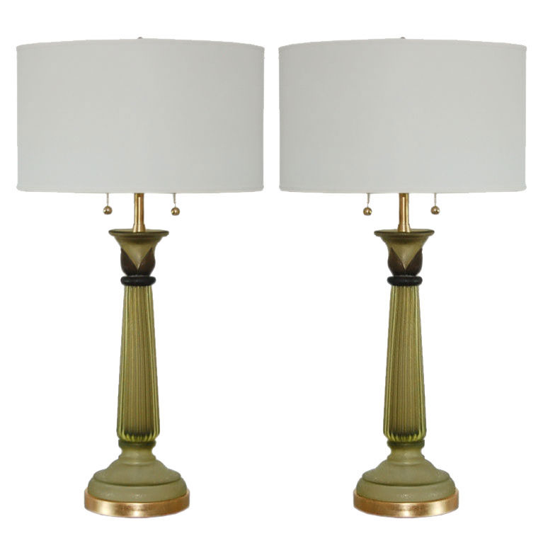 Marbro Lamp Company - Murano Lamps of Olive Green