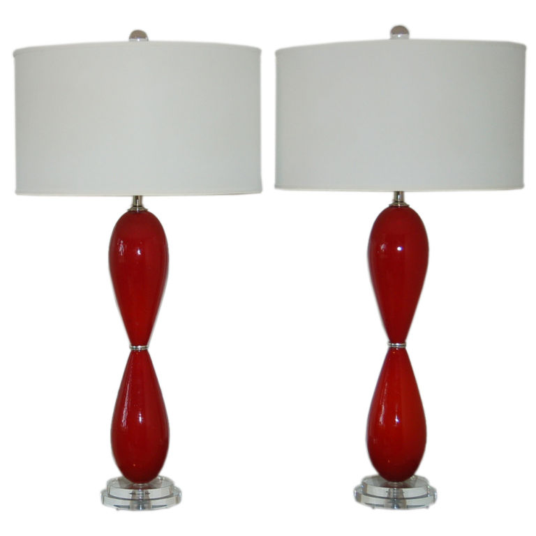 Vintage Murano Lamps in Red Hourglass Design