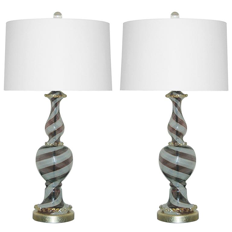 Pair of Vintage Murano Black Tie Lamps