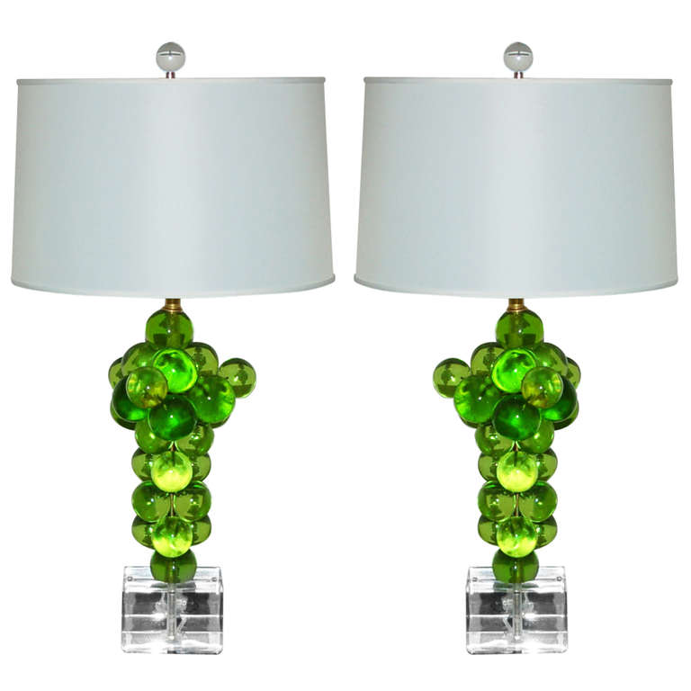 Bubble Lamps of Resin in Lime Green by Silvano Pantani, 1966