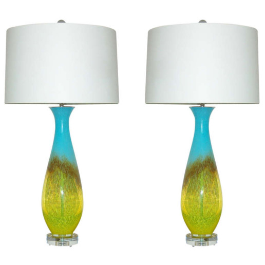 Turquoise and Yellow Pair of Vintage Italian Hand Blown Glass Lamps