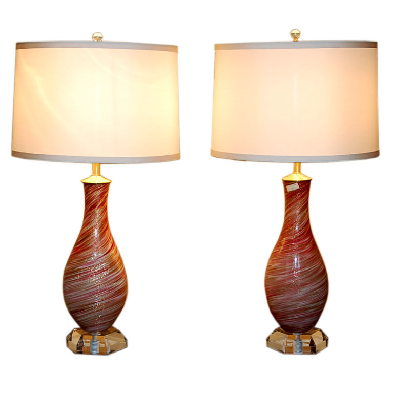 Raspberry Swirled Murano Lamps Kissed with Gold