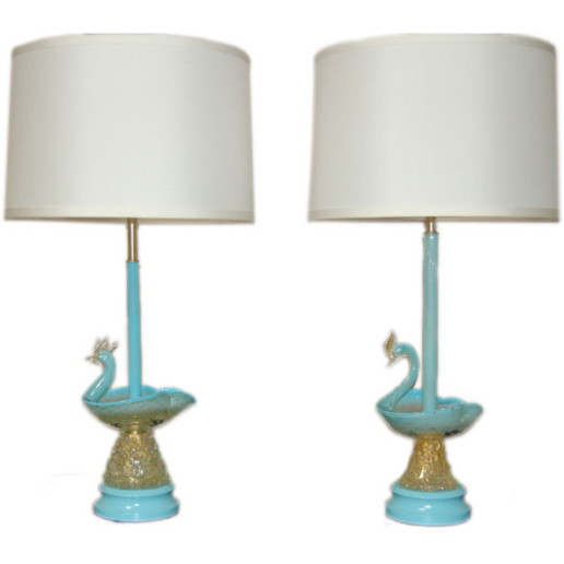Swan Figurine Murano Lamps in Robin's Egg Blue and Gold