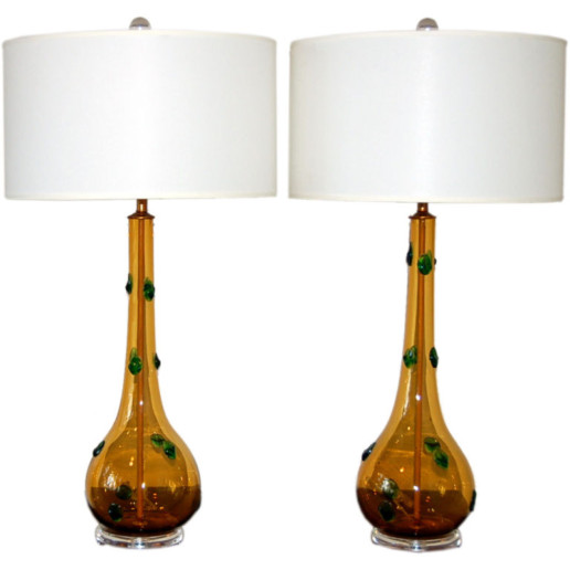 Emerald Prunts on Butterscotch Murano Table Lamps