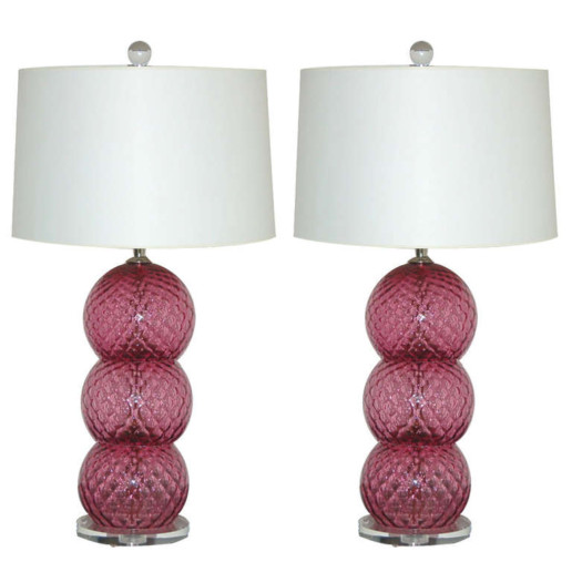 Pair of Vintage Murano Stacked Three Ball Lamps in Cranberry