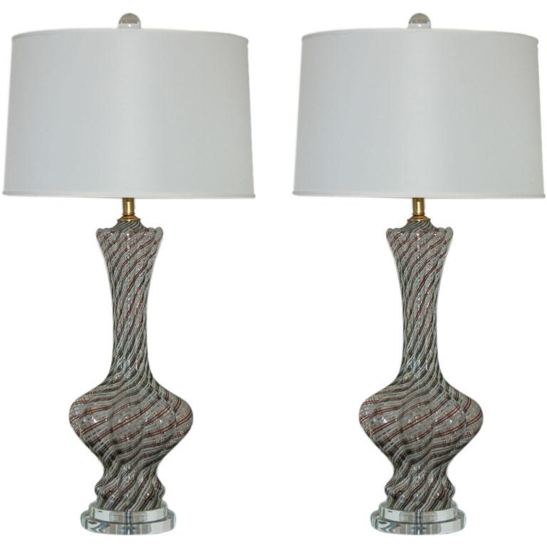 Classic Filigrana Lamps on Lucite of Bronze