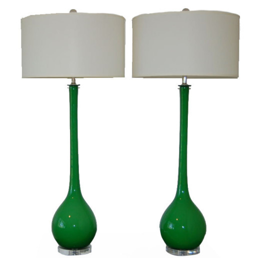 Vintage Murano Long Neck Table Lamps in Emerald Green