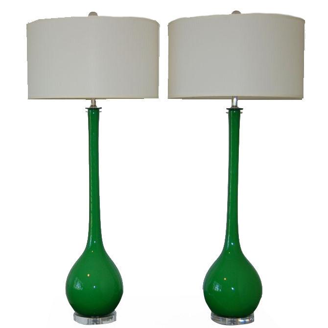 Vintage Murano Glass Long Neck Table Lamps Green Swank Lighting