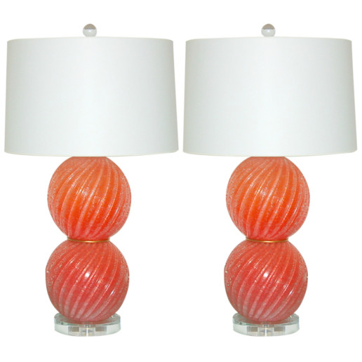 Stacked Melon Ball Lamps of Murano Glass Pulegoso