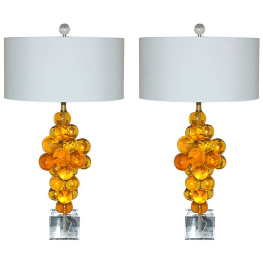 Bubble Lamps of Resin in Butterscotch by Silvano Pantani, 1966