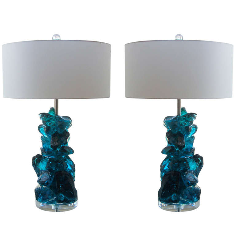 Rock Candy Glass Table Lamps In Teal Blue Swank Lighting