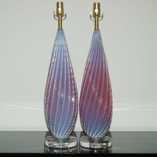 Pair of Vintage Murano Opaline Lamps of Orchid Berry