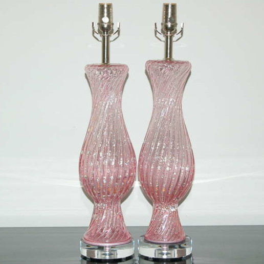 Pale Pink Vintage Murano Lamps with Bubbles