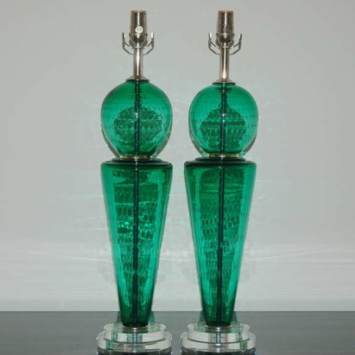 Pair of Vintage Murano Lamps of Jade Green
