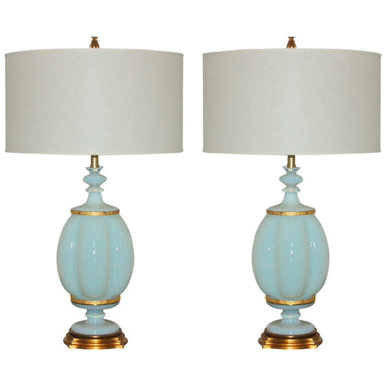 Pair of White Opaline Murano Lamps by The Marbro Lamp Company, 1966